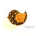 Madárka kitűző - barna pöttyös, Gyapjúfilcből készítettem, melyre pamutot dolg...