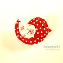Madárka kitűző - piros pöttyös , Gyapjúfilcből készítettem, melyre pamutot dolg...