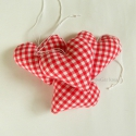 Négy szív - piros-fehér kockás - 4 db