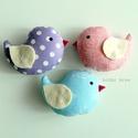 Kismadarak - lila-kék-rózsaszín függeszthető dísz- 3 darab, Tarka függeszthető kismadárkákat készítettem...