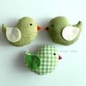 Kismadarak - zöld függeszthető dísz I.- 3 darab, Tarka függeszthető kismadárkákat készítettem...