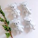 Jeges mackók - pöttyös, mintás - 4 db - karácsonyi dísz, függeszthető dekoráció, A karácsonyi kollekció részeként készültek e...
