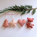 Piros-fehér karácsonyi díszek I. - 4 db - függeszthető dekoráció, A piros-fehér kollekció részeként készültek ...