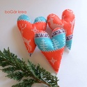 Karácsonyi hosszúkás szív, norvég mintás - 3 db függeszthető dísz, Otthon & lakás, Dekoráció, Dísz, Ünnepi dekoráció, Karácsonyi, adventi apróságok, Karácsonyfadísz, A karácsonyi kollekció részeként készültek ezek a díszek.  A hosszúkás szíveket kötött norvég mintás..., Meska