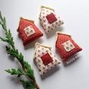 Négy házikó - karácsonyi dísz, függeszthető dekoráció, A piros-fehér kollekció részeként készültek ...