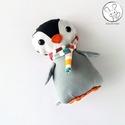 Pingvin bébi tarka sállal - textil figura - játék állat, Minden darab egyedi, kézzel készült, így garan...