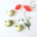 Kismadarak - zöld szett - 3 darab függeszthető dísz, dekor madár, lakásdísz, Tarka függeszthető kismadárkákat készítettem...