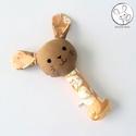 Nyuszi csörgő, erdei állatos, barna - bébi játék, textil figura, designer fejlesztő játék, A legkisebbek számára készítettem figuráim cs...