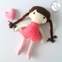Hanga baba + kabala szívecske - textil figura, puha baba, designer fejlesztő játék, Minden darab egyedi, kézzel készült, így garan...