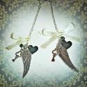 Angyalszárny nyakláncok - nem csak angyaloknak, barátnők részére :) , Ékszer, Nyaklánc, Páros nyakláncot készítettem barátnők számára. Tibeti ezüst angyalszárny medálból és ap..., Meska