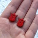 Piros tulipán - fülbevaló, Ékszer, Fülbevaló, Festett tárgyak, Festett piros tulipán.  Fából készült bedugós fülbevaló.  , Meska