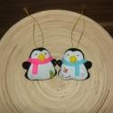 Pingvinpár karácsonyfadísz, Dekoráció, Ünnepi dekoráció, Karácsonyi, adventi apróságok, Karácsonyfadísz, Varrás, Filc anyagból  édes kis pingvinpárt készítettem. (2db/csomag) A postaköltség tájékoztató jellegű.   , Meska