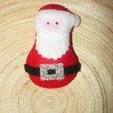 Mikulás karácsonyfadísz, Dekoráció, Ünnepi dekoráció, Karácsonyi, adventi apróságok, Karácsonyfadísz, Varrás, Filc anyagból, 100 %-ban kézzel varrott kis Mikulás díszeket készítettem. Kérheted arany vagy fehér..., Meska