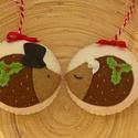 Sünipár  karácsonyfadísz, Dekoráció, Ünnepi dekoráció, Karácsonyi, adventi apróságok, Kiváló minőségű gyapjúfilc anyagból  100%-ban kézi varrással édes kis sünipárt készítettem. (2db/cso..., Meska