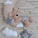 Babaszoba dekoráció - holdas maci (szürke), Baba-mama-gyerek, Dekoráció, Gyerekszoba, Varrás, Mindenmás, Elragadó dekoráció a baba birodalmába!  Harmonikus, modern színeivel a babaszoba dísze lehet ez a f..., Meska