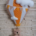 Babaszoba dekoráció - hőlégballonos maci (narancssárga), Gyerek & játék, Otthon & lakás, Gyerekszoba, Dekoráció, Mindenmás, Varrás, Elragadó dekoráció a baba birodalmába!  Harmonikus, modern színeivel a babaszoba dísze lehet ez a f..., Meska