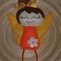 Húsvéti barkadísz - Narancssárga tündér, Dekoráció, Húsvéti díszek, Varrás, A tündért filcből varrtam, belsejét vatelinnel tömtem ki.   Tündérke magassága: 17 cm  Vásárlásnál ..., Meska