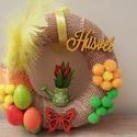 Húsvéti ajtódísz, Dekoráció, Otthon, lakberendezés, Mindenmás, Egy 20 cm nagyságú szalmakoszorút díszítettem húsvéti hangulatban fel. A 20 cm-t széltől-szélig mér..., Meska