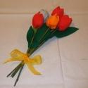 Textil tulipáncsokor, Baba-mama-gyerek, Mindenmás, Csokor, Varrás, Patchwork, foltvarrás, Öt szál textiltulipán egy csokorban nagyon szép ünnepi köszöntő lehet Anyák Napjára, ballagásra, óv..., Meska
