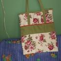 Rózsás szatyor, Táska, Szatyor, Varrás, Összehajtható, táskában elhelyezhető bevásárló szatyor. Vastag bútorvászon a borítója, bélése lenvá..., Meska