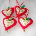 Ünnepi szivek, Dekoráció, Ünnepi dekoráció, Karácsonyi, adventi apróságok, Karácsonyfadísz, Karácsonyi dekorációnak vagy csomagkísérőnek ajánlom a kis filcből készült szíveket,melye..., Meska