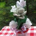 cserepes szalagvirág, Otthon, lakberendezés, Anyák napja, Asztaldísz, Varrás, Virágkötés, Selyemszalagból kézzel varrt virágok cserépbe helyezve.A virágcserép 5 cm-es, a kompozíció magasság..., Meska