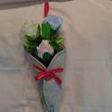 Tölcséres szalagrózsa, Dekoráció, Csokor, A nálam már megkedvelt textil tölcséres virág most 3 csodaszép, kézzel varrt rózsával kész..., Meska