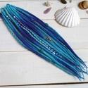 Kék raszta szett, 10 duplaszálas műraszta madárkoponyával, Táska, Divat & Szépség, Hajbavaló, Ruha, divat, Kék színátmenetes merinó gyapjúból készítem ezt a szettet.  A szett 10 duplaszálat tartalmaz. (20 vé..., Meska