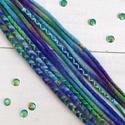 Hableány raszta szett, Felfonható 5 duplaszálas műraszta / Sellő gyapjú raszta szett, Táska, Divat & Szépség, Ruha, divat, Hajbavaló, Kék-zöld-lila színű ombria / színátmenetes merinó gyapjúból nemezelés technikával készítettem ezt a ..., Meska