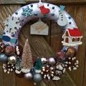 """""""Üzenet a Télapótól"""" ajtódísz - karácsony, tél, ajtódísz, kopogtató, kék, A képeken látható termésekkel és karácsonyi ..."""