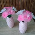 Pink virágcsokor - örökcsokor, örökvirág, asztaldísz, tavaszi dekor, rózsaszín, A rózsaszín különböző árnyalataival készí...