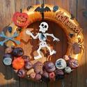 Félelmetes Halloween - Ősz, ajtódísz, kopogtató, narancssárga, A képeken látható Halloween-i motívumokkal dí...