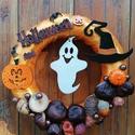 Szellemes Halloween - Ősz, ajtódísz, kopogtató, narancssárga, A képeken látható Halloween-i motívumokkal dí...