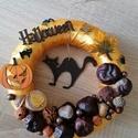Macskás Halloween - Ősz, ajtódísz, kopogtató, aranysárga, A képeken látható Halloween-i motívumokkal dí...