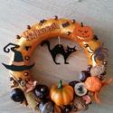 Klasszikus Halloween macskával - Ősz, ajtódísz, kopogtató, narancssárga, A képeken látható Halloween-i motívumokkal dí...