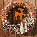 Barna színű őzikés ajtókoszorú - karácsony, tél, ajtódísz, kopogtató, óarany, A képeken látható termésekkel és karácsonyi ...