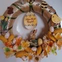 Sárga nyuszis virágos ajtódísz - húsvét, tavasz, sárga, zöld, A képeken látható húsvéti motívumokkal dísz...