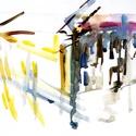 Házak I. akvarell, Képzőművészet, Otthon, lakberendezés, Festmény, Akvarell, Festészet, Fotó, grafika, rajz, illusztráció, Házak című kétrészes akvarell sorozatom első darabja.  Mérete: 33,5cm x 24,5 cm Hordozó: Dipa  , Meska