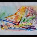 Absztrakt csendélet, Képzőművészet, Festmény, Akvarell, Festészet, Festett tárgyak, Absztrakt csendélet  Papír hordozóra készült akvarell festmény:  A festmény befoglaló mérete: 40 x ..., Meska