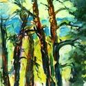 Zebegényi erdőrészlet, Képzőművészet, Festmény, Olajfestmény, Festészet, Festett tárgyak, Olajjal készült  vászon hordozóra, vakkeretre felfeszítve.  A festmény befoglaló mérete: 56,5 x 37 ..., Meska