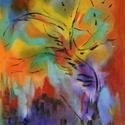Absztrakt naplemente, Képzőművészet, Festmény, Olajfestmény, Festészet, Festett tárgyak, Olajjal készült vászon hordozóra, vakkeretre felfeszítve.  A festmény befoglaló mérete: 52 x 36 cm ..., Meska