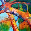 Organikus formák, Képzőművészet, Festmény, Olajfestmény, Festészet, Festett tárgyak, Olajjal készült vászon hordozóra, vakkeretre felfeszítve.  A festmény befoglaló mérete:  148 x 80 c..., Meska