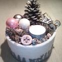 Karácsonyi box asztalra, Otthon, lakberendezés, Dekoráció, Ünnepi dekoráció, Karácsonyi, adventi apróságok, Ezt a kedves asztaldíszt, az ezüst, fehér és rózsaszín kombinációjában készítettem, hogy ..., Meska