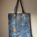 Farmer mintás bevásárló táska!1, Táska, Szatyor, Varrás, Farmer mintás bútorvászonból készült bevásárló táska.Óvjuk környezetünket. Méretei:38cm széles,44,5..., Meska