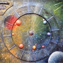 BolygóKép, Szerelmeseknek, Otthon, lakberendezés, Dekoráció, Mindenmás, Festett tárgyak, 70 x 70 cm-es vagy 70 cm-es kör alakú BolygóKép  A BolygóKép a bolygók égi állásának művészi ábrázo..., Meska