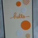 üdvözlő lap, Naptár, képeslap, album, Képeslap, levélpapír, Papírművészet, A képen látható termék 10,5 cm x 15 cm sötétszürke alapkartonra készült narancssárga mintás körökke..., Meska