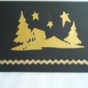 karácsonyi képeslap, Naptár, képeslap, album, Képeslap, levélpapír, Papírművészet, 10,5 cm x 15 cm méretű alapkartonra ragasztott arany, vagy ezüst színű papírból sablon segítségével..., Meska