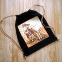 fekete tornazsák két lóval, Táska, Hátizsák, Tarisznya, Ez a tornazsák, most egy kétlovas anyagblokkal készült, világos barna zsinórral, fekete vászonból  Ó..., Meska