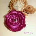 lila virágom , Ékszer, óra, Bross, kitűző, Rózsaszín selyemből készült ez a szép  rózsa.  Ha neked más színben tetszik, tudok hasonlót készíten..., Meska