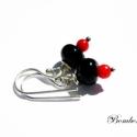 Piros és fekete, Kézzel készült fekete üveggyöngy vörös kora...